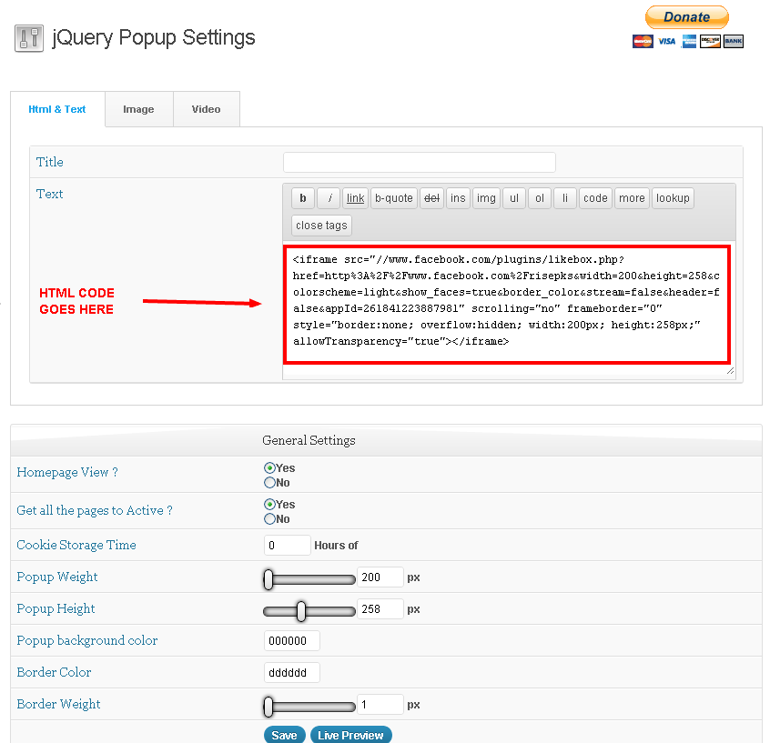 jquery popup setting page